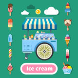 Ice cream trolley on a hot sunny day. Delicious sweets in assortment. Kinds of ice cream. Color vector flat illustration Royalty Free Stock Photography
