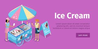 Ice Cream Trolley in Isometric Projection. Vector. Illustration vector illustration