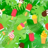 Ice Cream and tropical leaves seamless pattern in trandy paper cut style.. Tasty summer bright icecream stick on white Stock Image