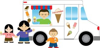 Ice cream truck. Mother buying ice cream from the ice cream truck for children Royalty Free Stock Photography