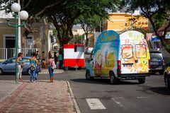 Ice Cream truck in Africa, Mindelo streets Royalty Free Stock Images