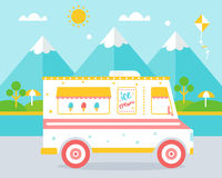 Ice Cream Truck agains Beach Landscape Royalty Free Stock Image