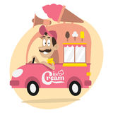 Ice cream truck and cheerful driver Stock Photography