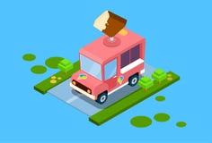 Ice Cream Truck 3d Isometric Design Stock Photos