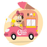 Ice cream truck and driver with loudspeaker. Illustration, ice cream truck and driver with loudspeaker, format EPS 8 Stock Photos