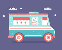 Ice Cream Truck Flat Illustration Royalty Free Stock Photography