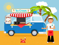 Ice cream truck and iceman Royalty Free Stock Image