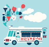 Ice Cream truck illustration. Stock Photo