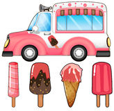 Ice cream truck and many ice cream Royalty Free Stock Photo