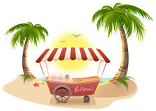 Ice cream truck among palm trees on tropical beach. Vector cartoon illustration Royalty Free Stock Images