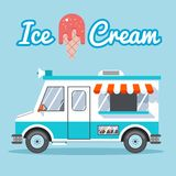 Ice cream truck. For sale on a blue background. Vector illustration Stock Photography