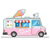Ice cream truck, side view. Seller of ice cream in the van. Ice cream van. Isolated vector flat design illustration on white background for your web design or Stock Photography