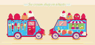 Ice cream truck van. Ice cream shop on wheels. Ice cream Popsicle. Tasty frozen, cartoon characters, fruits. Stock Photography