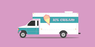 Ice cream truck with violet background Stock Image