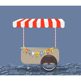 Ice cream truck on wheels isolated vector ice cream vendor white male smiling Royalty Free Stock Photography