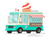 Ice cream truck on white background. Vector illustration in a flat style Stock Images
