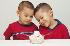 Ice Cream For Two series - #1. Two preschool brothers ready to enjoy a large bowl of strawberry-cheesecake ice cream stock image