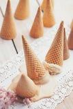 Ice-Cream Upside Down. Ice-cream cones with ice-cream turned upside down Stock Photos