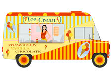 Ice cream van with girl inside Stock Photography