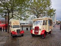 Ice cream van. Old ice cream vans at Liverpool water front, Liverpool, Merseyside, UK Stock Images