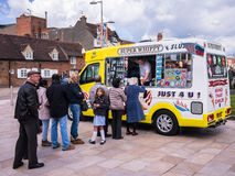 People in Ice Cream Van Queue Royalty Free Stock Photos