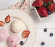 Ice cream vanilla and strawberry coffee top view espresso rustic morning breakfast stock image