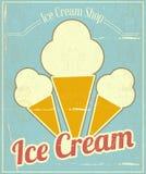 Ice Cream Vanilla Card. Ice Cream Vanilla Vintage Menu Card in Retro Style. illustration Stock Image