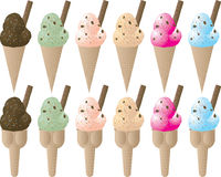 Ice cream variation sprinkle. Six different colored ice cream cones with sprinkles and a flake Royalty Free Stock Photo