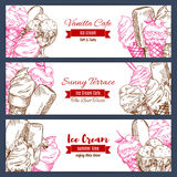 Ice cream vector banners sketch set. Ice cream banners. Frozen desserts assortment. Vector sketch set of sweet fresh vanilla ice cream scoops in glass bowl Royalty Free Stock Photos