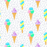 Ice cream vector seamless pattern. Summer collection. Stock Images