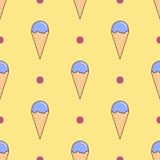 Ice cream vector seamless pattern on yellow. Flat design Vector Royalty Free Stock Photo