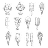 Ice cream vector sketch icons of fresh desserts. Ice cream sketch vector icons. Isolated set of frozen desserts, fruit or berry soft ice cream scoops in wafer Stock Photo