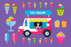 Ice cream vector truck van and icons set Royalty Free Stock Photography