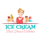 Ice cream vendor with best flavour collection. Vector illustration.  Royalty Free Stock Photography