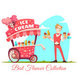 Ice cream vendor with cart. Best flavour collection. Vector illustration Stock Photo
