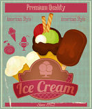 Ice Cream Vintage Card Menu Stock Image