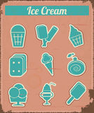 Ice Cream - Vintage set labels Stock Photo