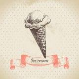 Ice cream. Vintage hand drawn illustration Stock Photography