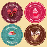 Ice Cream Vintage Label. Label in vintage style in various ice cream type royalty free illustration