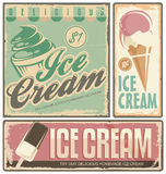Ice cream. Vintage metal signs set vector illustration