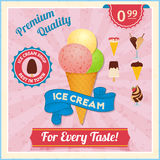Ice cream vintage poster Royalty Free Stock Image