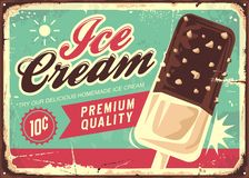 Free Ice Cream Vintage Tin Sign Stock Photography - 147848962