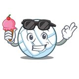 With ice cream volley ball character cartoon Stock Photography