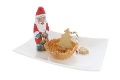 Ice cream in wafer cone / bowl with christmas decoration Royalty Free Stock Photos