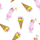 Ice cream in a wafer cone and milkshake are isolated on a white background. Seamless pattern for design Royalty Free Stock Photography