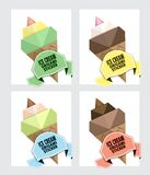 Ice cream in a wafer cup. Special offer for summer sales and actions. Price tag template for catalog with space for text. Ice cream in a wafer cup. Origami royalty free illustration