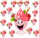 Ice cream with  wafer, raspberry and mint in cup Stock Photos
