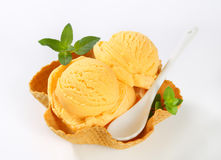 Ice cream in waffle basket Royalty Free Stock Photo
