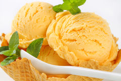 Ice cream in waffle basket Stock Photography