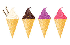 Ice cream in waffle cone Stock Photo